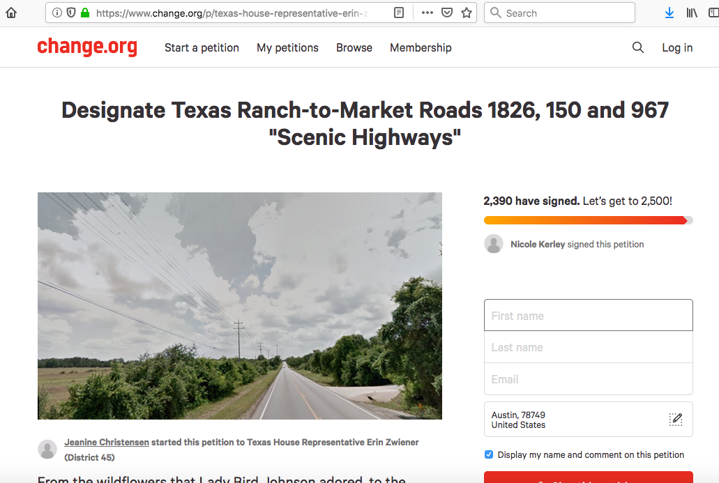 Petition for scenic highways for Texas 2019 Legislative Session